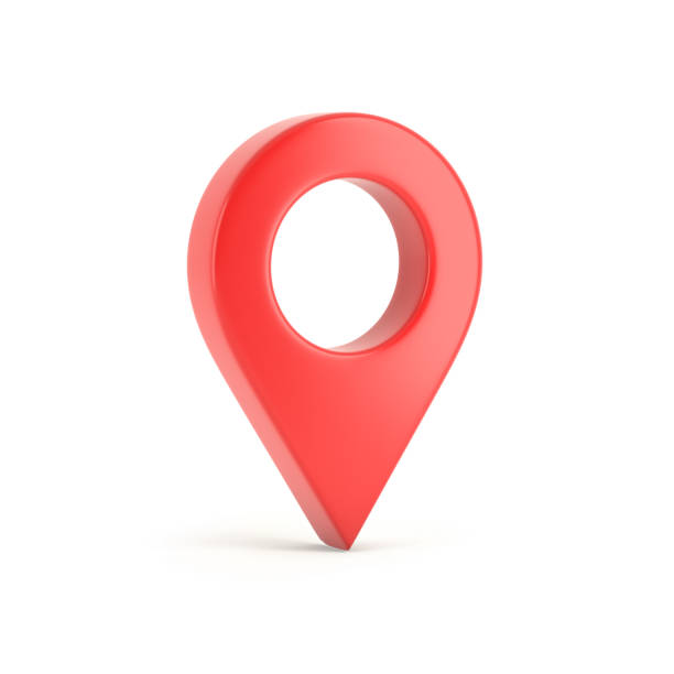 Red map pointer isolated on white background 3d illustration straight pin stock pictures, royalty-free photos & images