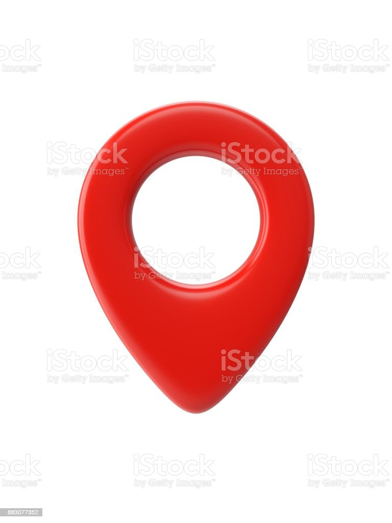 Red map pointer isolated on white background stock photo