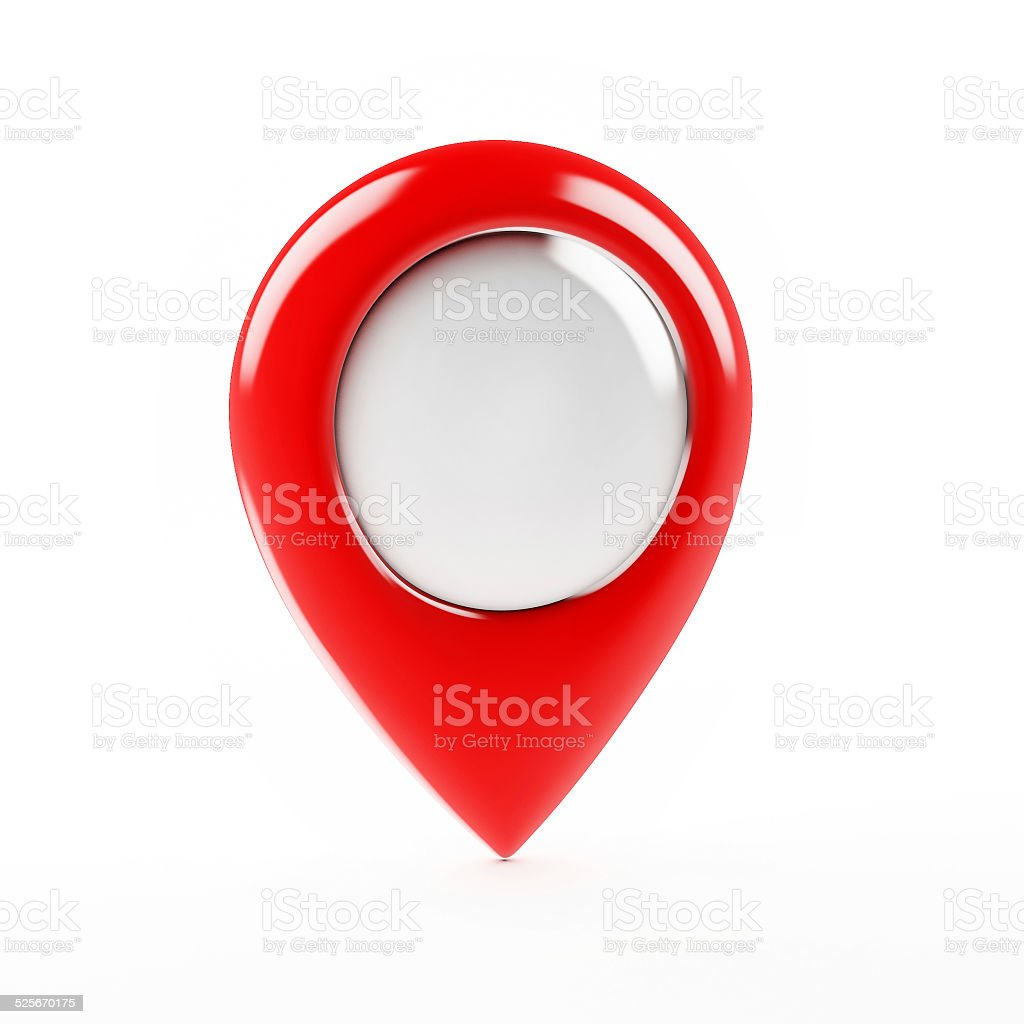 Red Map Pointer Isolated on White Background, Render stock photo