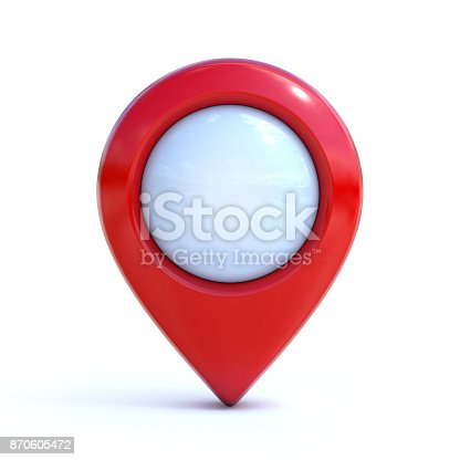 istock Red Map pointer, mark, pin, marker 3d rendering 870605472