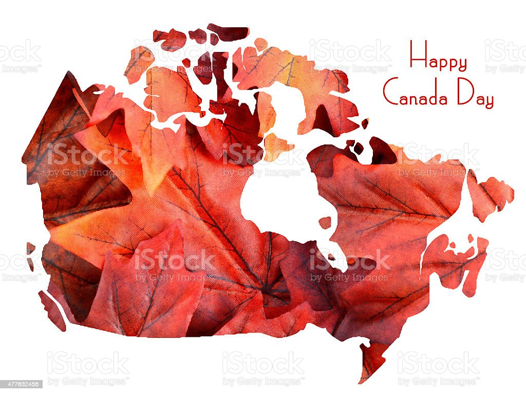 Red Maple Leaves in shape of Canada map stock photo