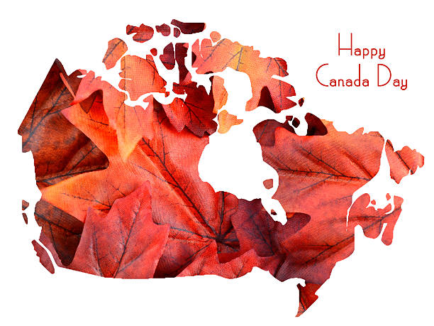 red maple leaves in shape of canada map - canada day stock pictures, royalty-free photos & images