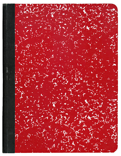 a red marble covered composition book with black binding - composition stock pictures, royalty-free photos & images