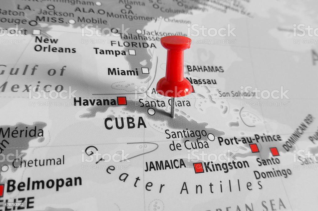 Red marker over Cuba island stock photo
