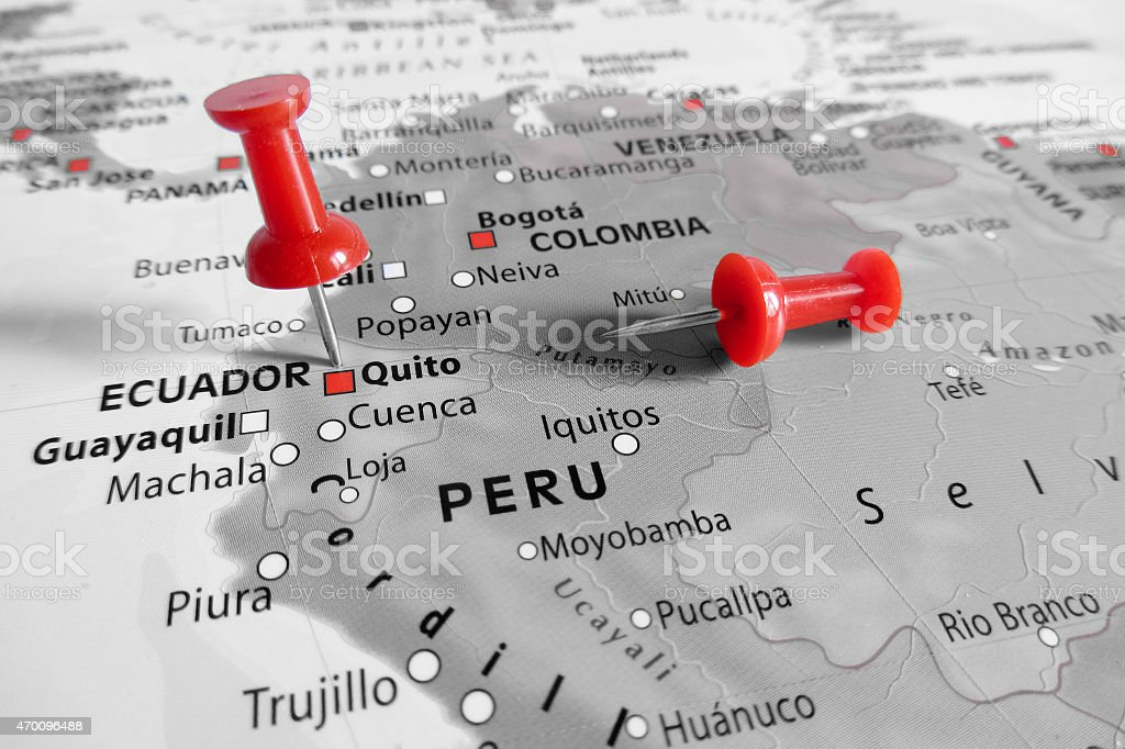 Red marker over Equador stock photo