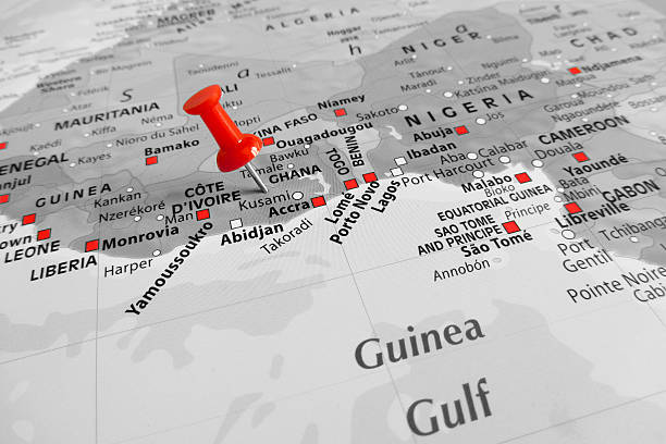 Red marker over Ghana Red marker over Ghana côte d'ivoire stock pictures, royalty-free photos & images