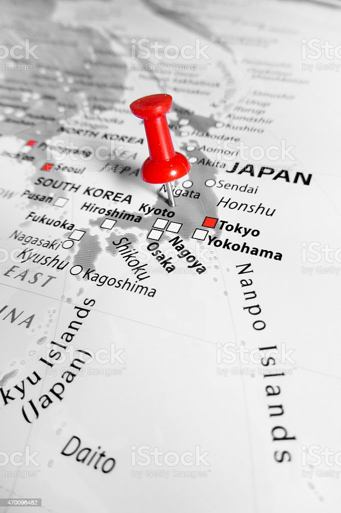 Red marker over Japan stock photo