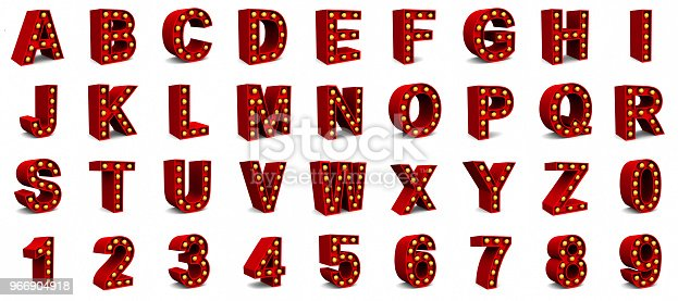 istock Red Marquee light letter sign retro on white background. 3d rendering 966904918