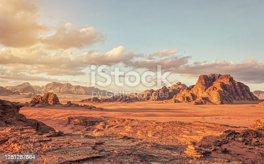 Red Mars like landscape in Wadi Rum desert, Jordan, this location was used as set for many science fiction movies.