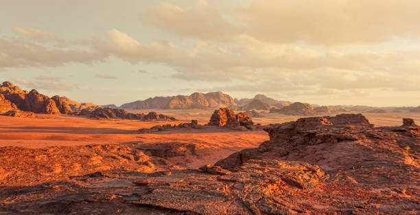 Red Mars like landscape in Wadi Rum desert, Jordan, this location was used as set for many science fiction movies stock photo