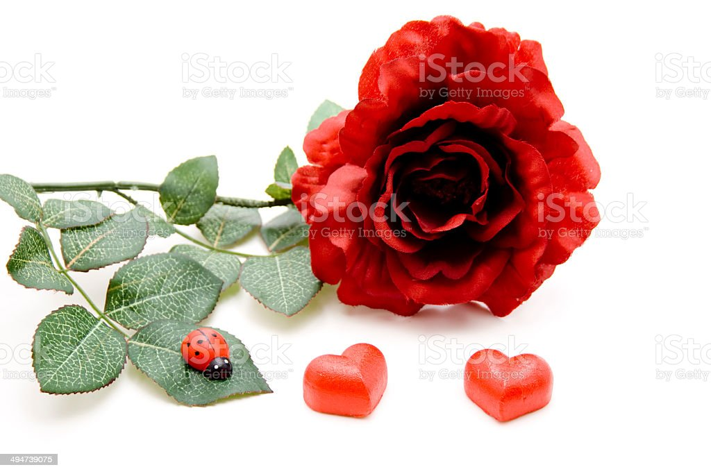 Red marzipan heart with beetle and rose stock photo