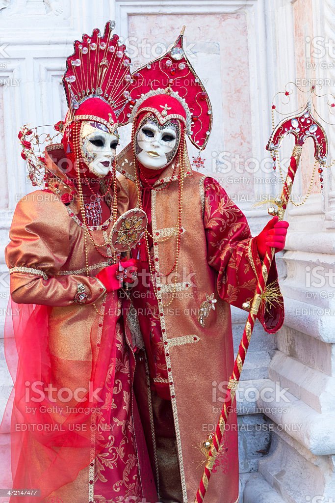 Red Masks at Carnival 2013 San Zacharias, Venice, Italy royalty-free stock photo