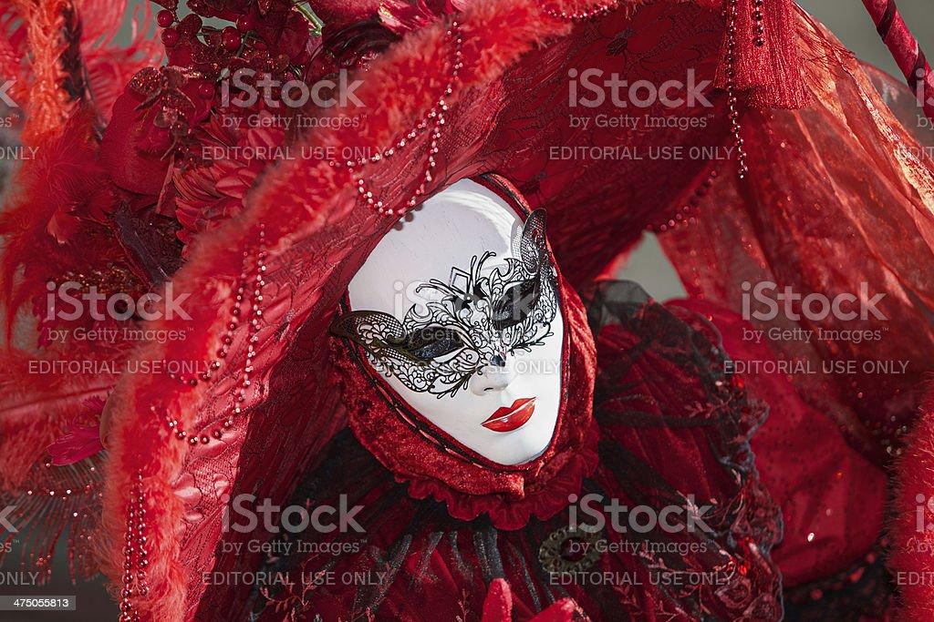Red masks at Venice Carnival 2014 royalty-free stock photo