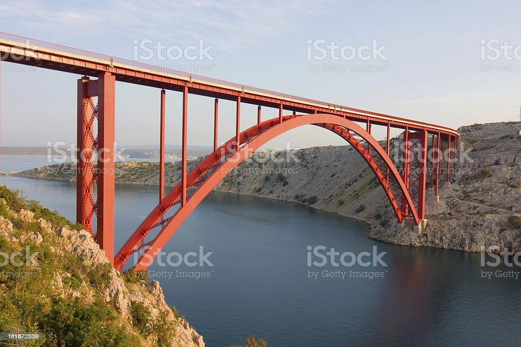 Red Maslenica Bridge, Croatia royalty-free stock photo