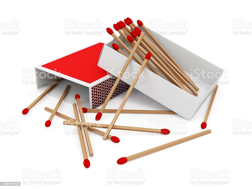 Red Matchbox isolated on white background stock photo