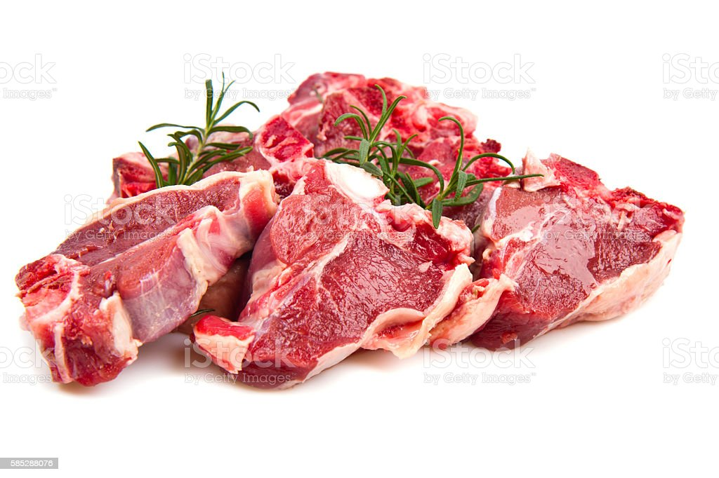 red meat with rosemary on marble table stock photo