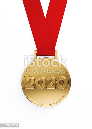 Gold medal on white background, 2020 writes on the gold medal. Vertical composition with clipping path. Great use for Best of 2020 concepts.