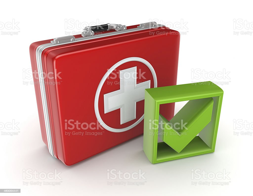 Red medical purse and green tick mark. stock photo