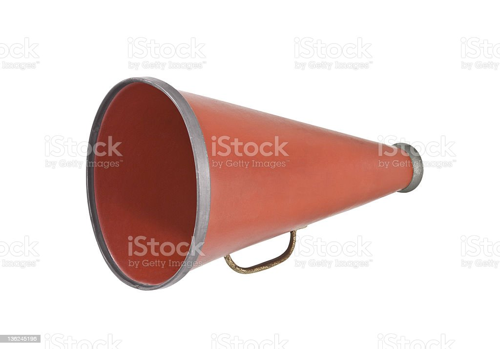 Red megaphone against a white background royalty-free stock photo
