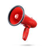 istock Red megaphone isolated on white background 667752118