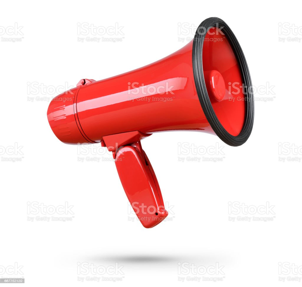 Red megaphone isolated on white background stock photo