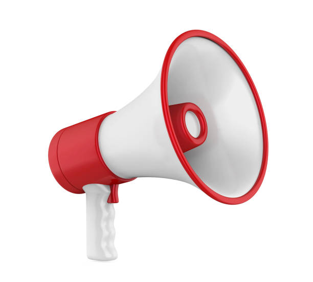 red megaphone isolated - megafono foto e immagini stock