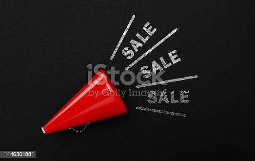 1155191162 istock photo Red Megaphone With Sale Text Over Blackboard 1146301881