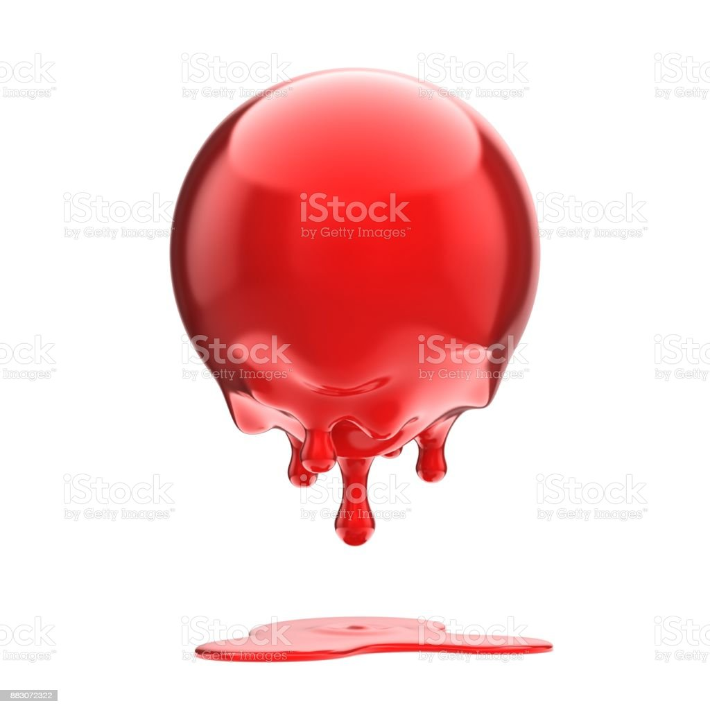 red melting sphere 3d isolated illustration stock photo
