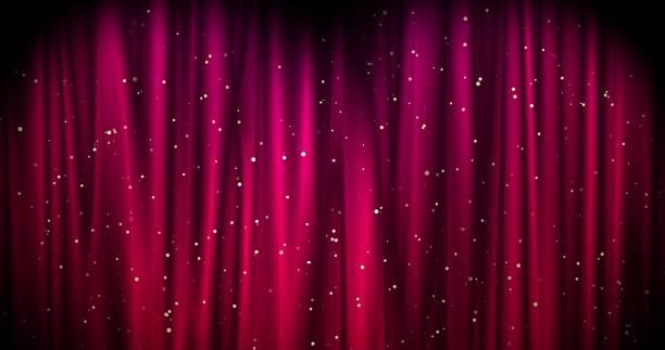 黄金の星と赤いメリークリスマスの背景。ウォルペーパー・バレンタイン・デー3d レンダリング - glitter curtain ストックフォトと画像