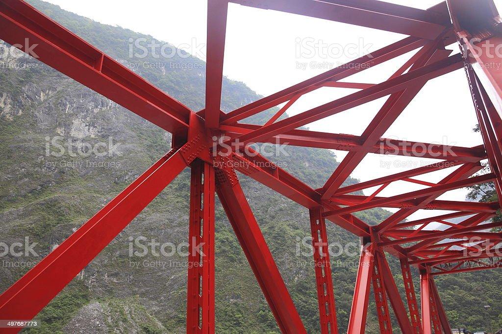 Red metal bridge royalty-free stock photo