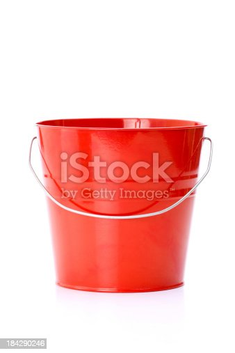 close-up of red bucket isolated on white background