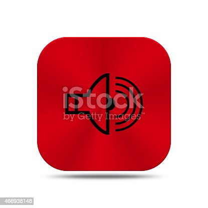 istock Red metal button with radio icon isolated 466938148