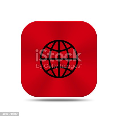 istock Red metal button with world icon isolated 466938048