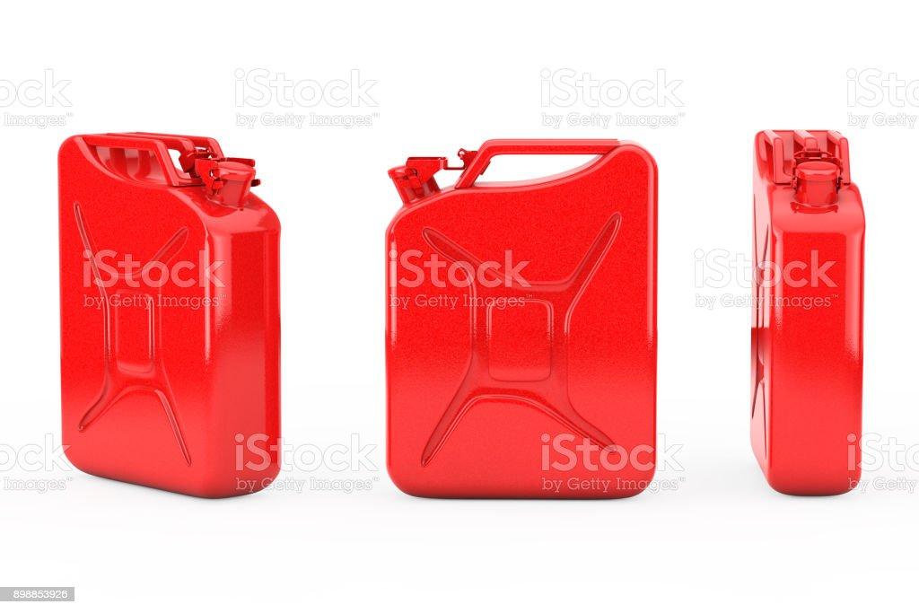 Rot Metall Kanister mit freiem Speicherplatz für Ihr Design. 3D rendering – Foto