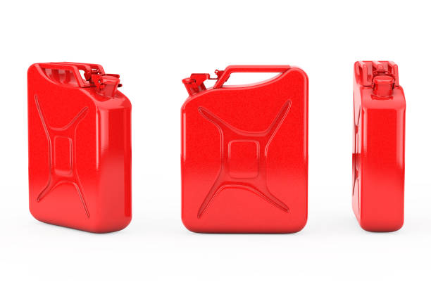 Red Metal Jerrycan with Free Space for Yours Design. 3d Rendering stock photo