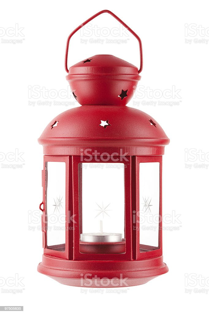 Red metal lamp with candle royalty-free stock photo
