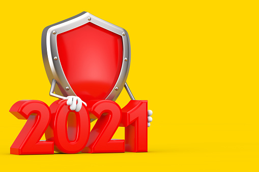 Red Metal Protection Shield Character Mascot with 2021 New Year Sign. 3d Rendering