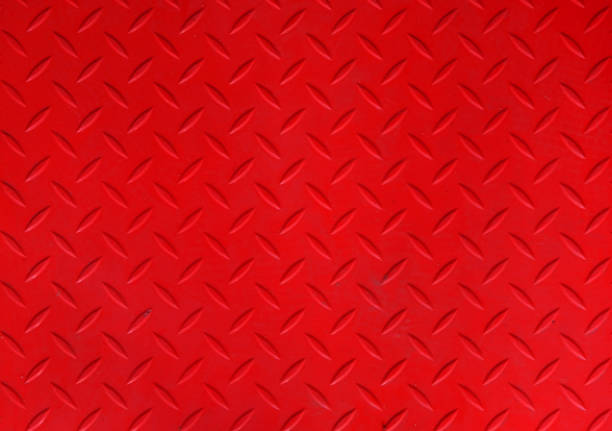 Red metal sheet floor texture stock photo
