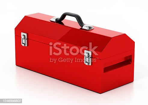 Red metal toolbox isolated on white.