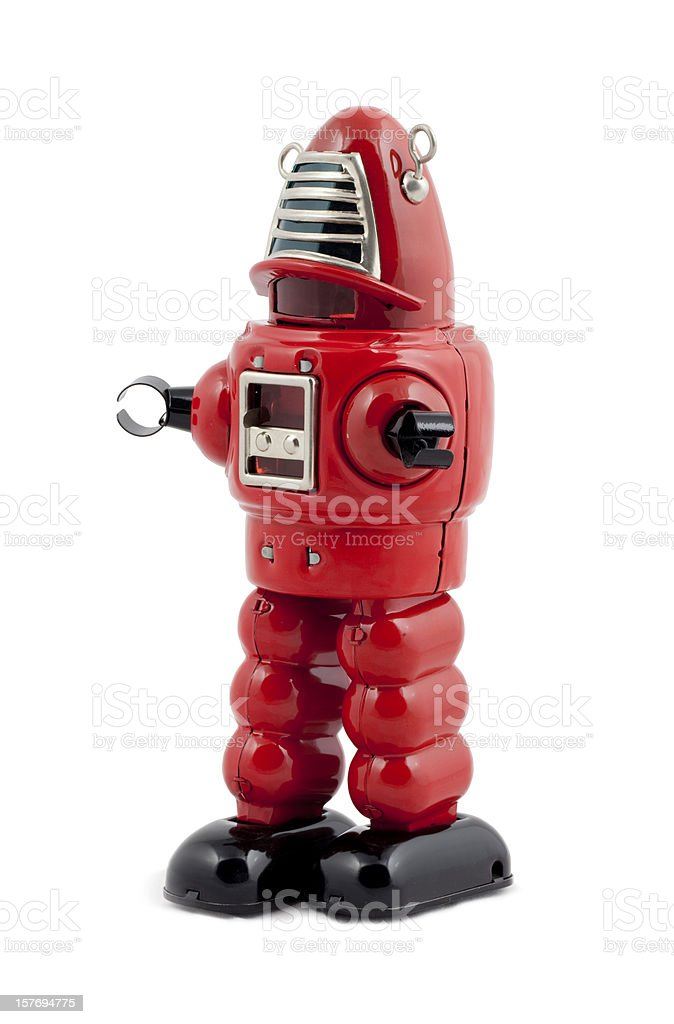 Red metal toy robot isolated stock photo