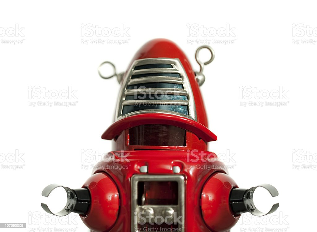 Red metal toy robot medium shot stock photo