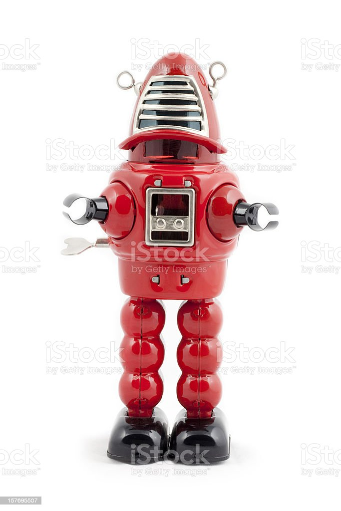 Red metal toy robot stock photo
