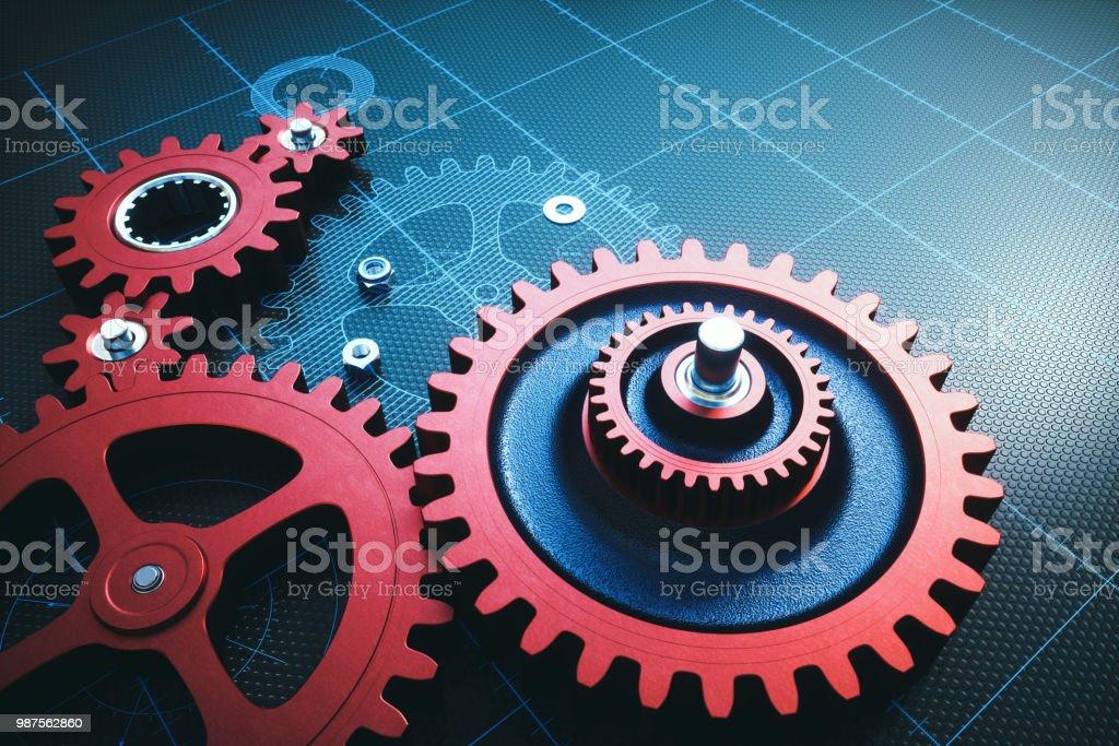 Rot metallic Getriebe auf einem Raster mit geschlüpften Schaltpläne – Foto