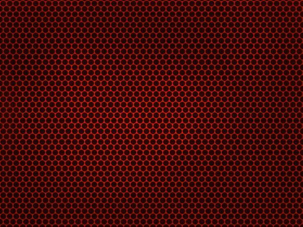 grille métallique rouge sur fond noir. - fond rouge photos et images de collection