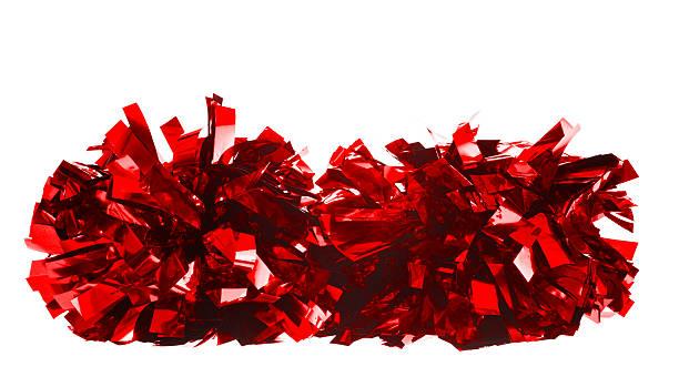 Red metallic pom poms on white background stock photo