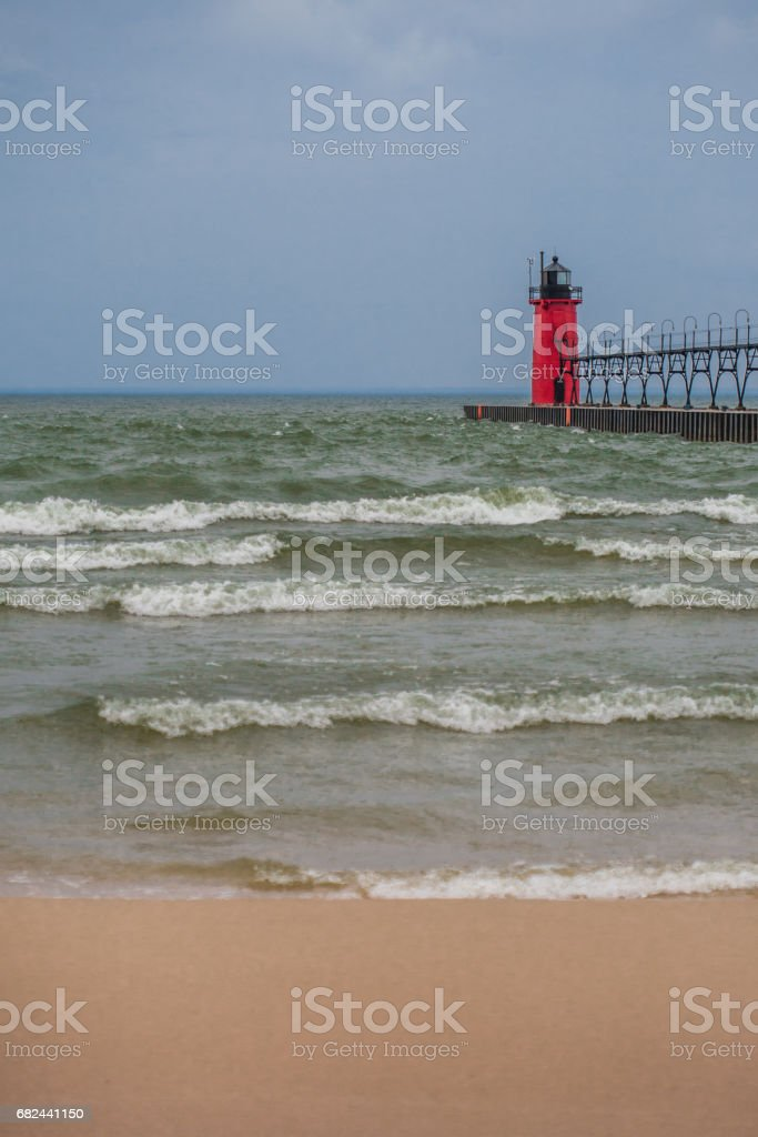 Red Michigan USA lighthouse vertical royalty-free stock photo