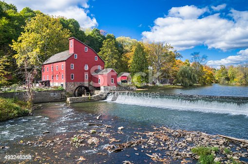 The Red Mill was built in Clinton New Jersey about 1812 to process wool.  Since then it has been used to make talc, graphite, peach baskets and grist.  It was restored in 1960.