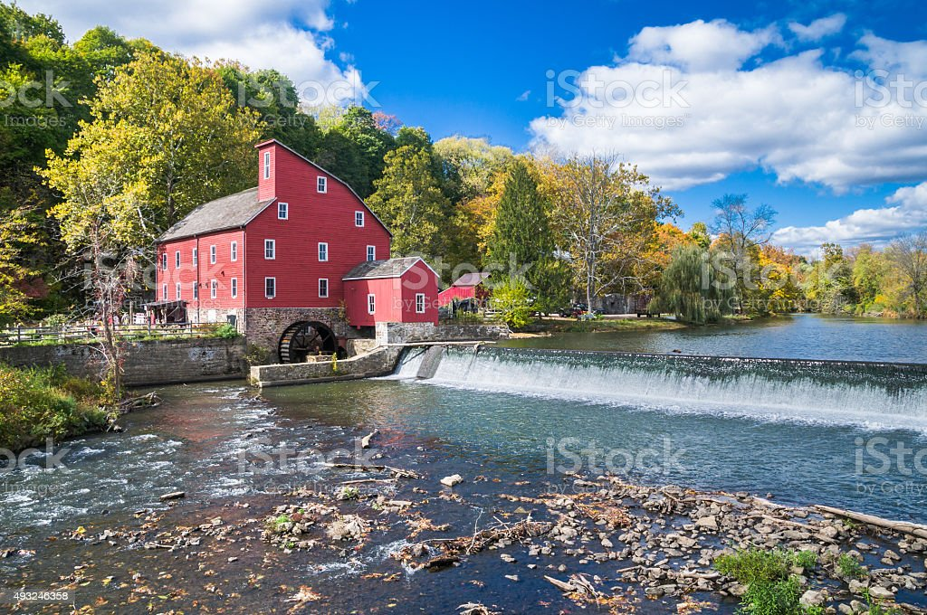 Red Mill on the Raritan River stock photo