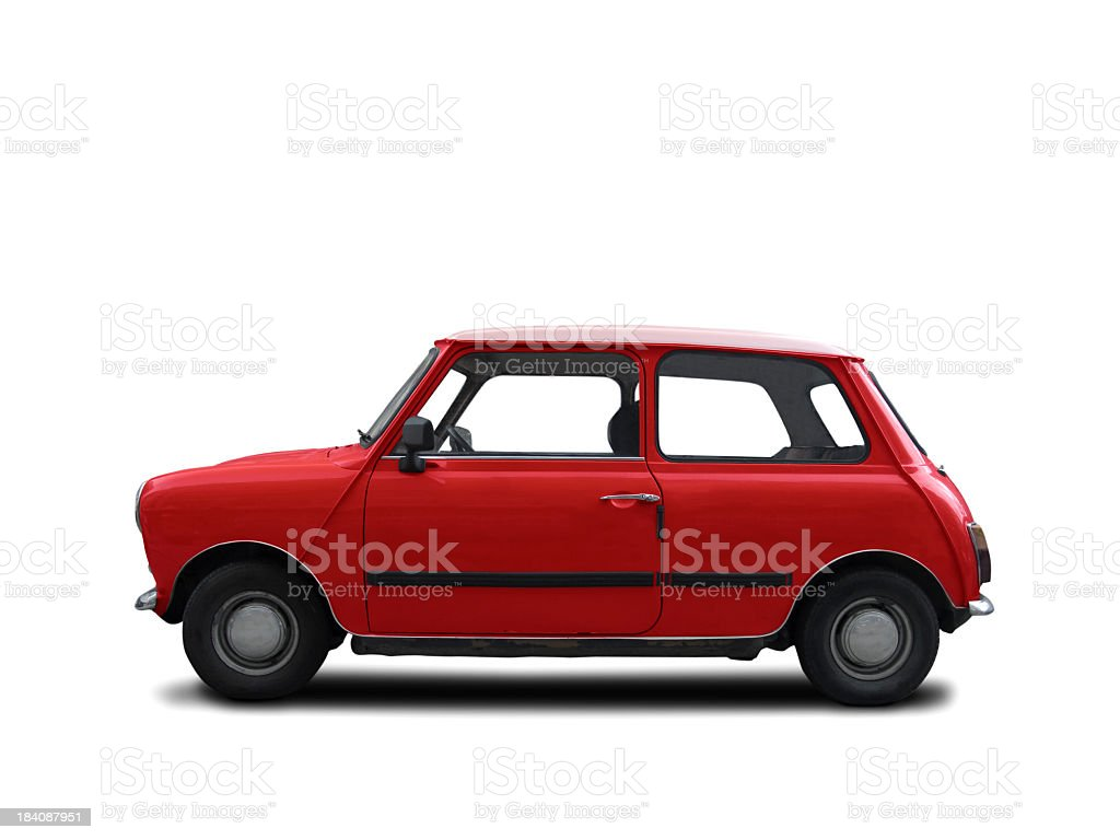 A red Mini Cooper from the 1960s stock photo