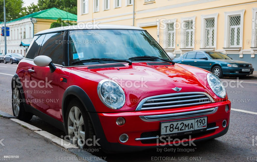 Red Mini Cooper Parked At The Roadside Stock Photo More Pictures